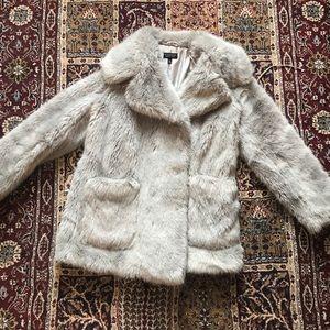 TOPSHOP mint faux fur jacket size US 4